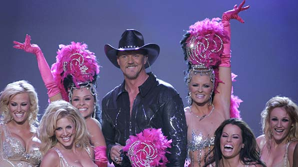 When Trace Adkins was surrounded by showgirls.