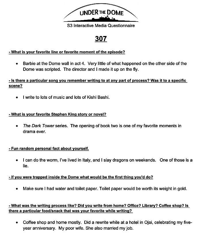 Writer's Room Questionnaire