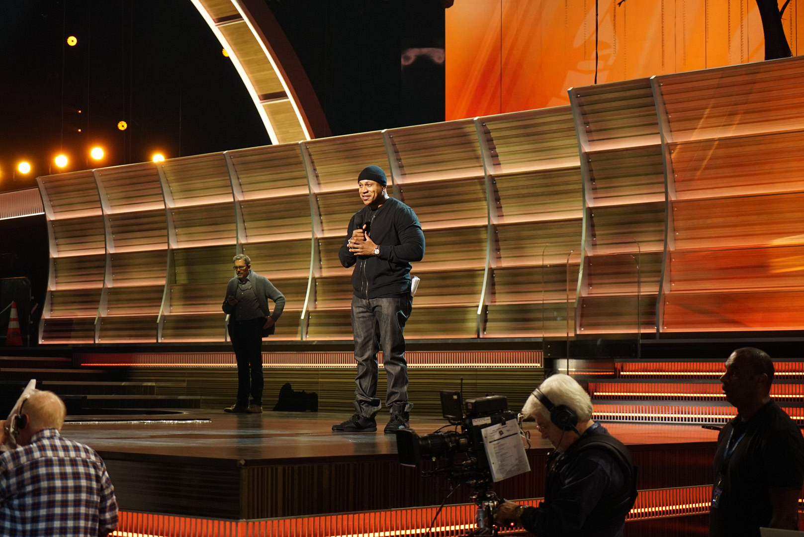 LL COOL J goes over his hosting duties with the GRAMMYs crew.