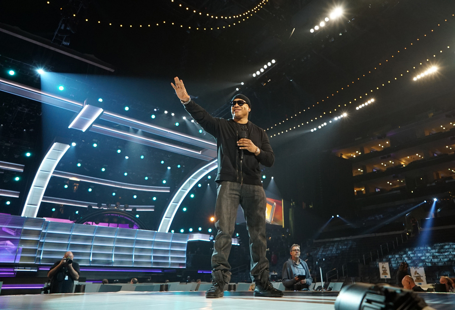 GRAMMYs host LL COOL J hits all his marks during a run through of the show.