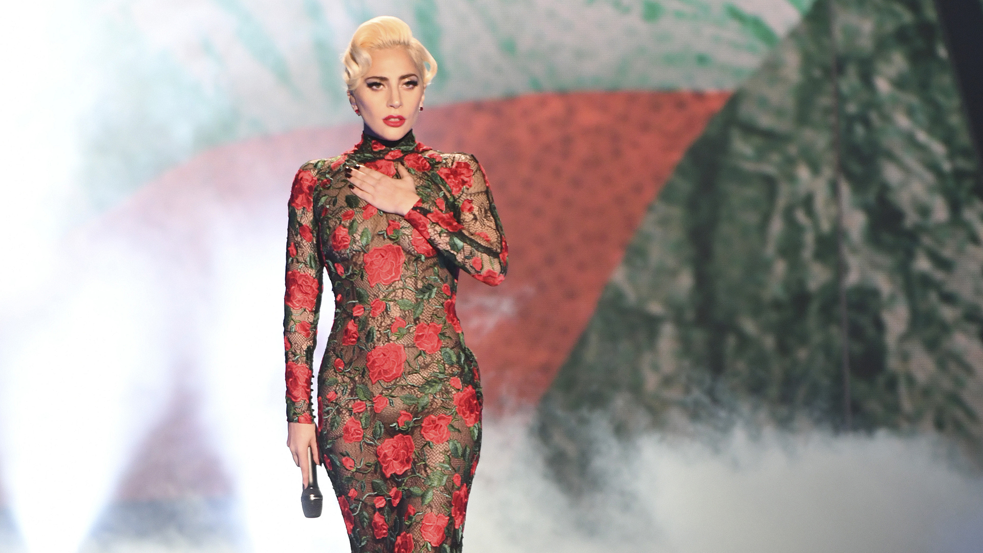 Lady Gaga takes to the stage.