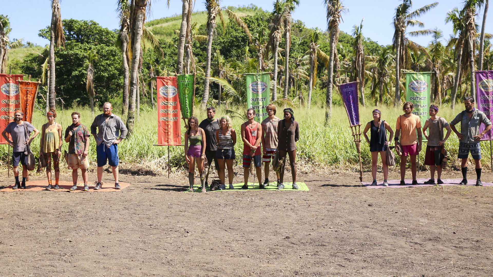 The 14 remaining Survivor castaways get a glimpse of their next Immunity challenge.