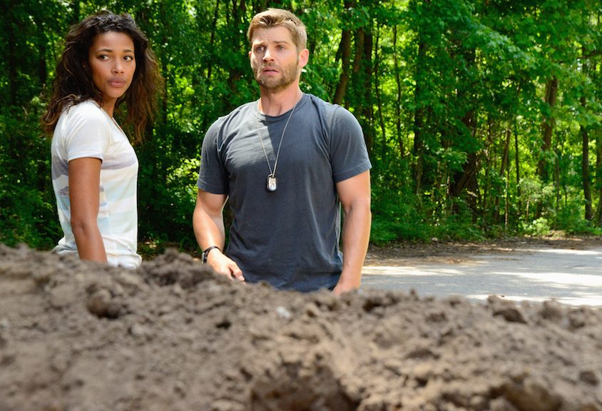"Kylie Bunbury as Eva and Mike Vogel as Dale ""Barbie"" Barbara."