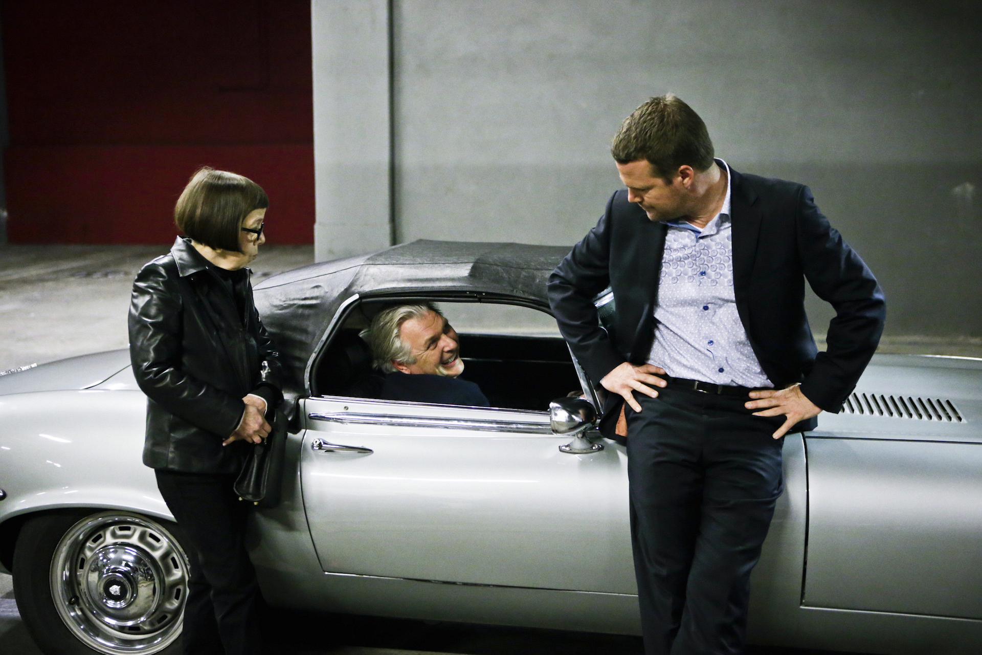 "Linda Hunt as Henrietta ""Hetty"" Lange, Vyto Rugins as Arkady Kolcheck, and Chris O'Donnell as Special Agent G. Callen"