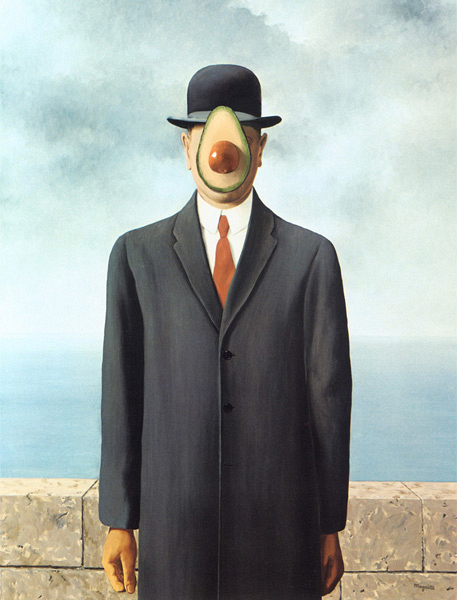 The Son of Man with Avocado, Rene Magritte, 1964