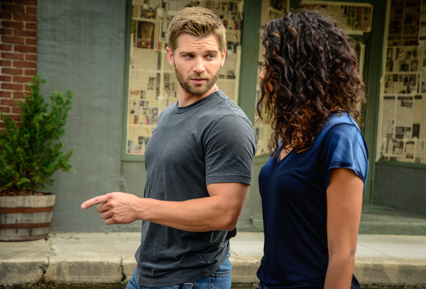 "Mike Vogel as Dale ""Barbie"" Barbara and Kylie Bunbury as Eva Sinclair."