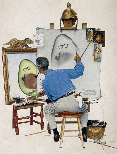Triple Self-Portrait with Avocado, Norman Rockwell, 1960