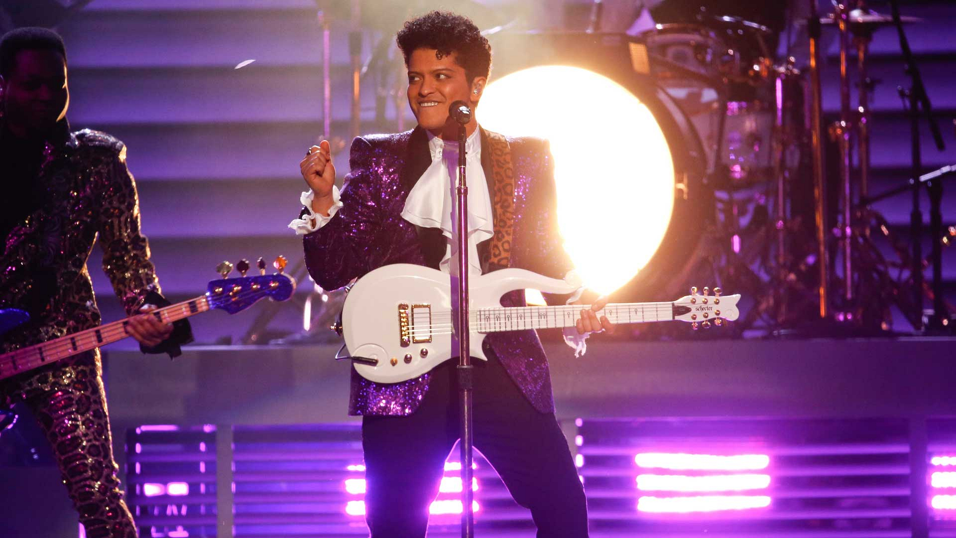 "Bruno Mars performs ""Let's Go Crazy"" as a tribute to Prince at the 2017 GRAMMY Awards."