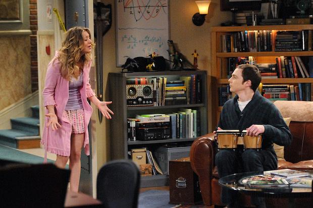 Sheldon playing his bongos