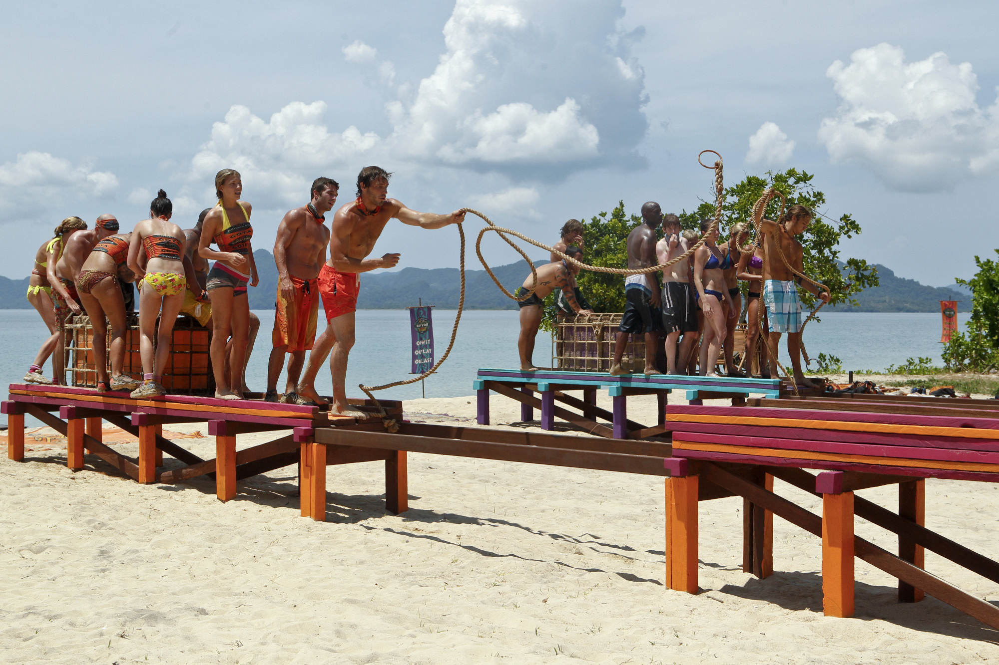 "Competing at the immunity challenge on ""There's Gonna Be Hell to Pay"" Season 26 Episode 3"