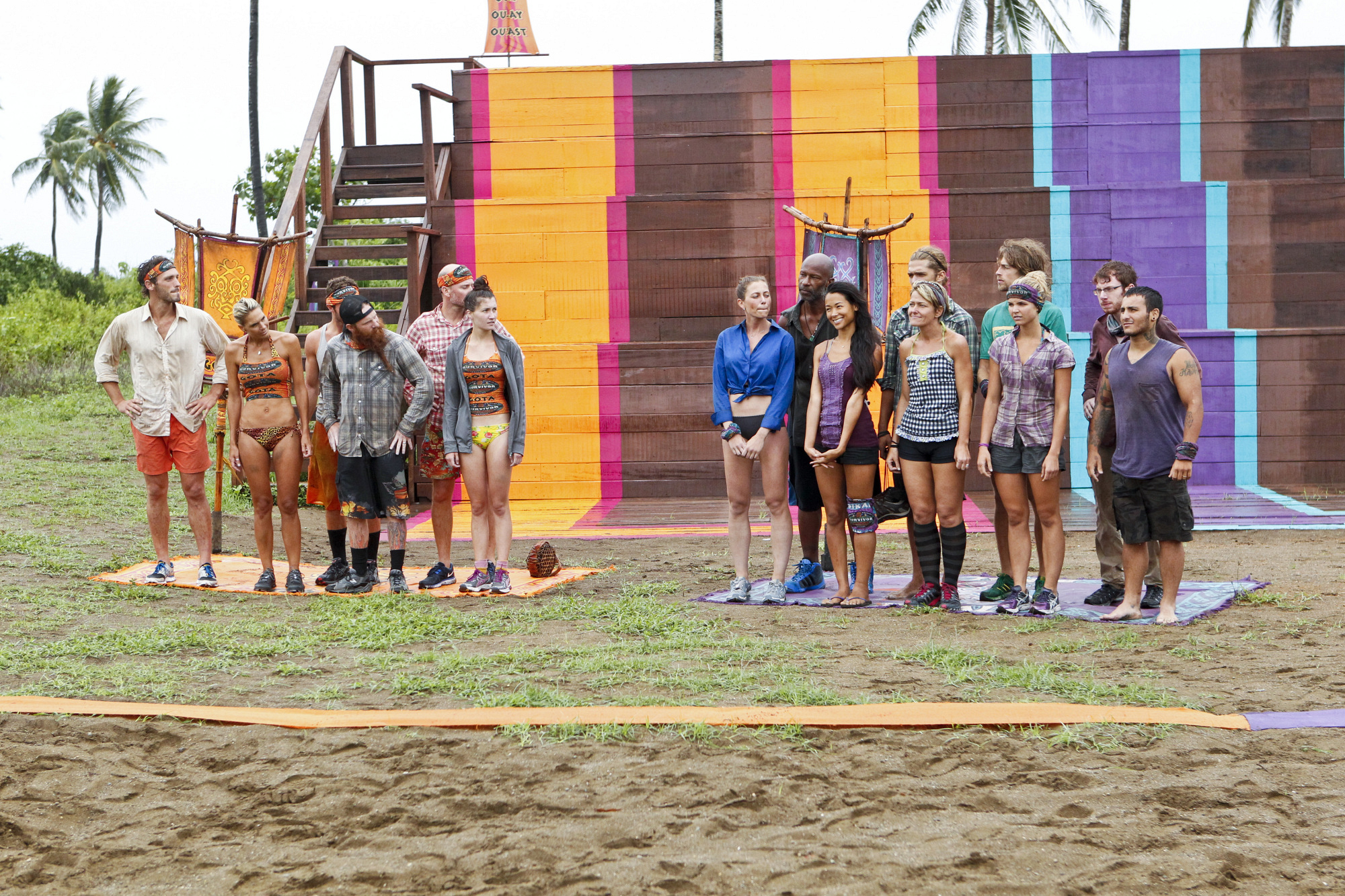 "Lining up for the Immunity Challenge in ""Persona Non Grata"" Episode 5 of Season 26"