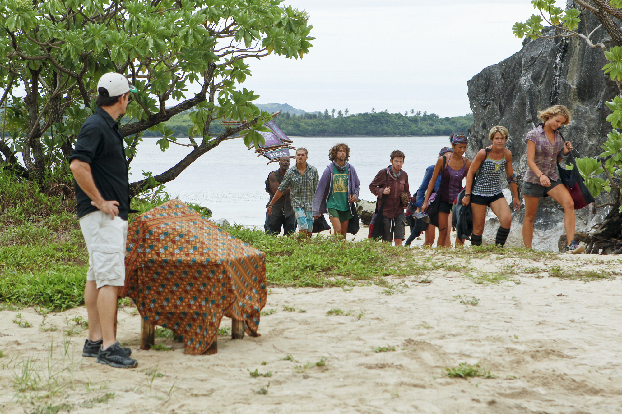 "Bikal Tribe and Jeff Probst in ""Operation Thunder Dome"" Episode 6 of Season 26"