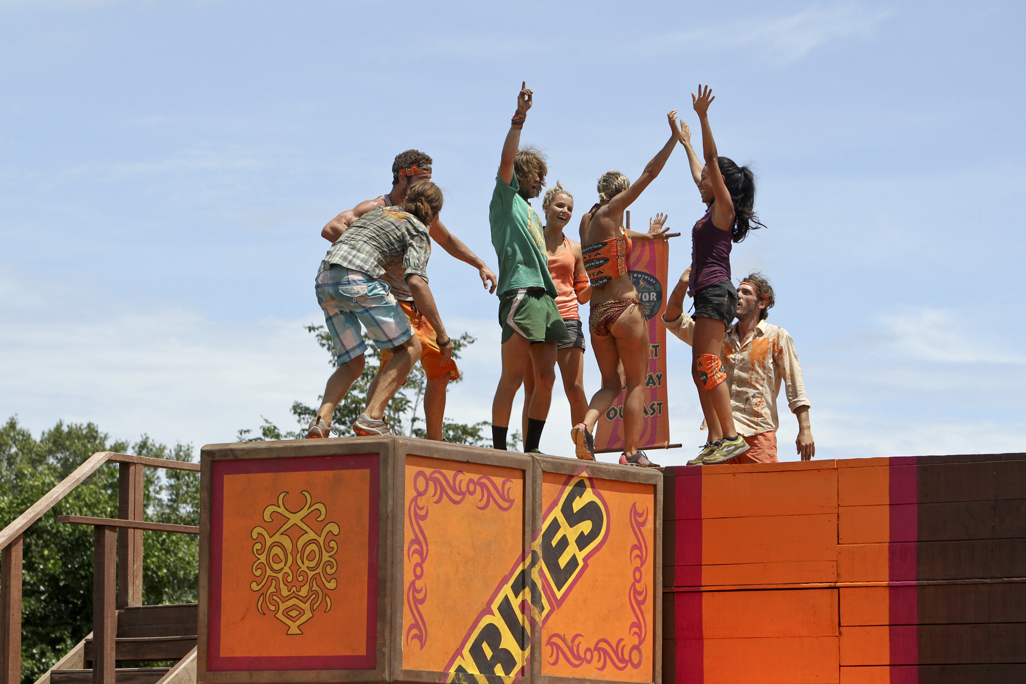 "Immunity Challenge celebration in ""Operation Thunder Dome"" Episode 6 of Season 26"