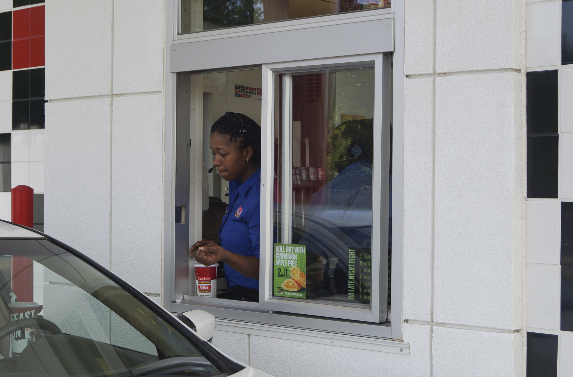 "In the drive-thru in ""Epic Employees"" Episode 16 of Season 4"