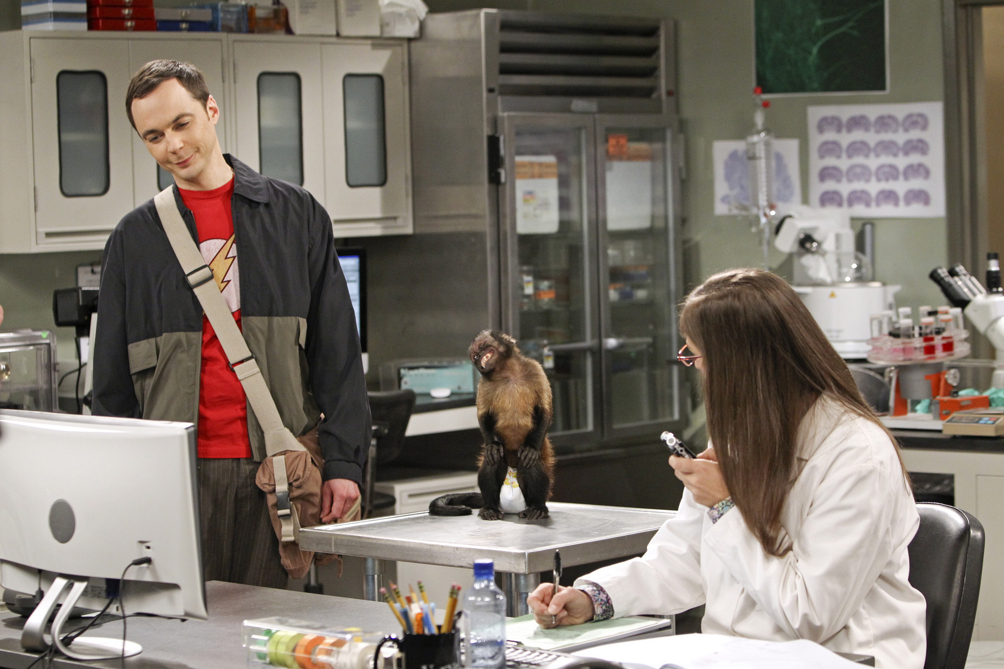 "Monkey in the middle in ""The Workplace Proximity"" Episode 5 of Season 7"