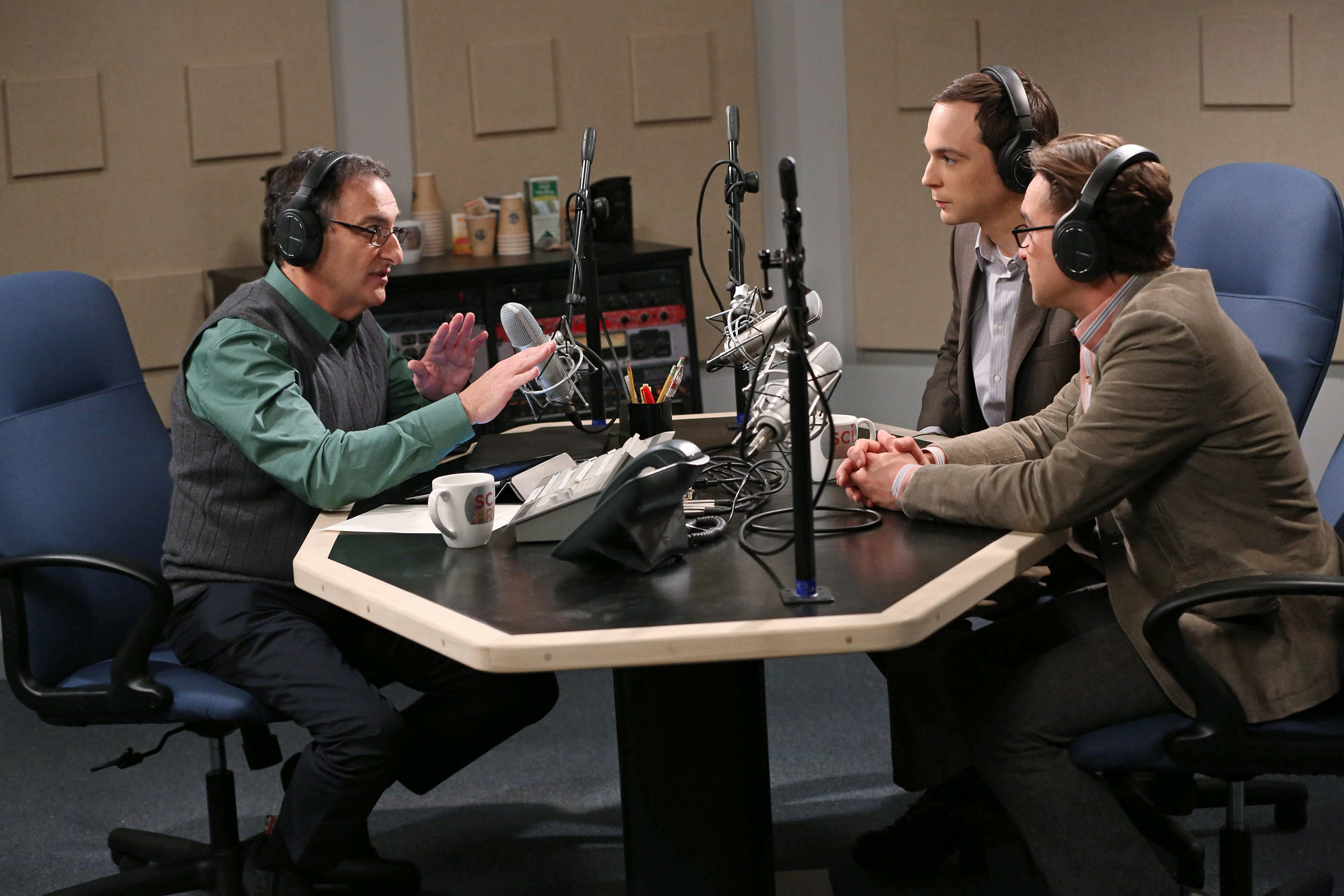 """At the radio studio in """"The Discovery Dissipation"""" Episode 10 of Season 7"""