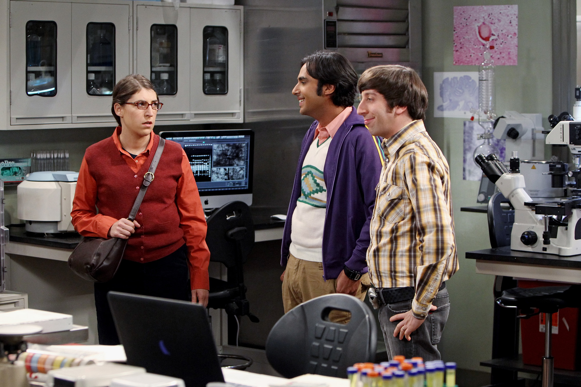 "Amy, Raj & Howard in ""The Occupation Recalibration"" Episode 13 of Season 7"