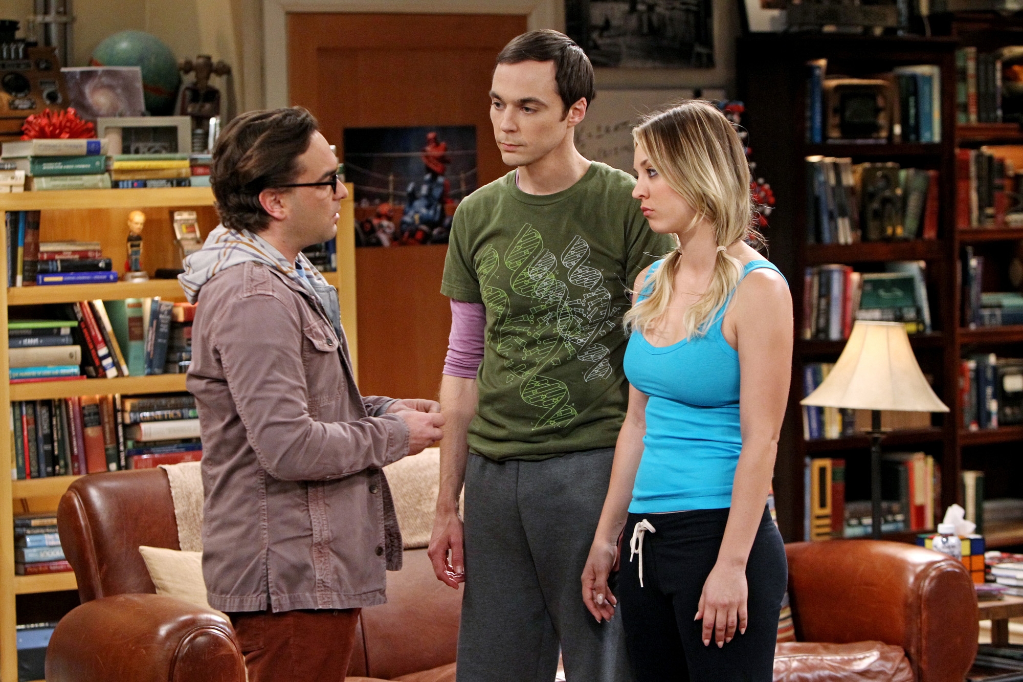 "Leonard, Penny & Shledon in ""The Occupation Recalibration"" Episode 13 of Season 7"