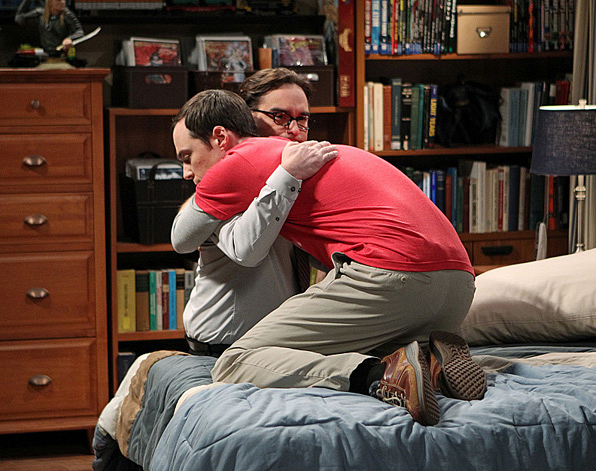 Sheldon brings it in for the real thing with Leonard.