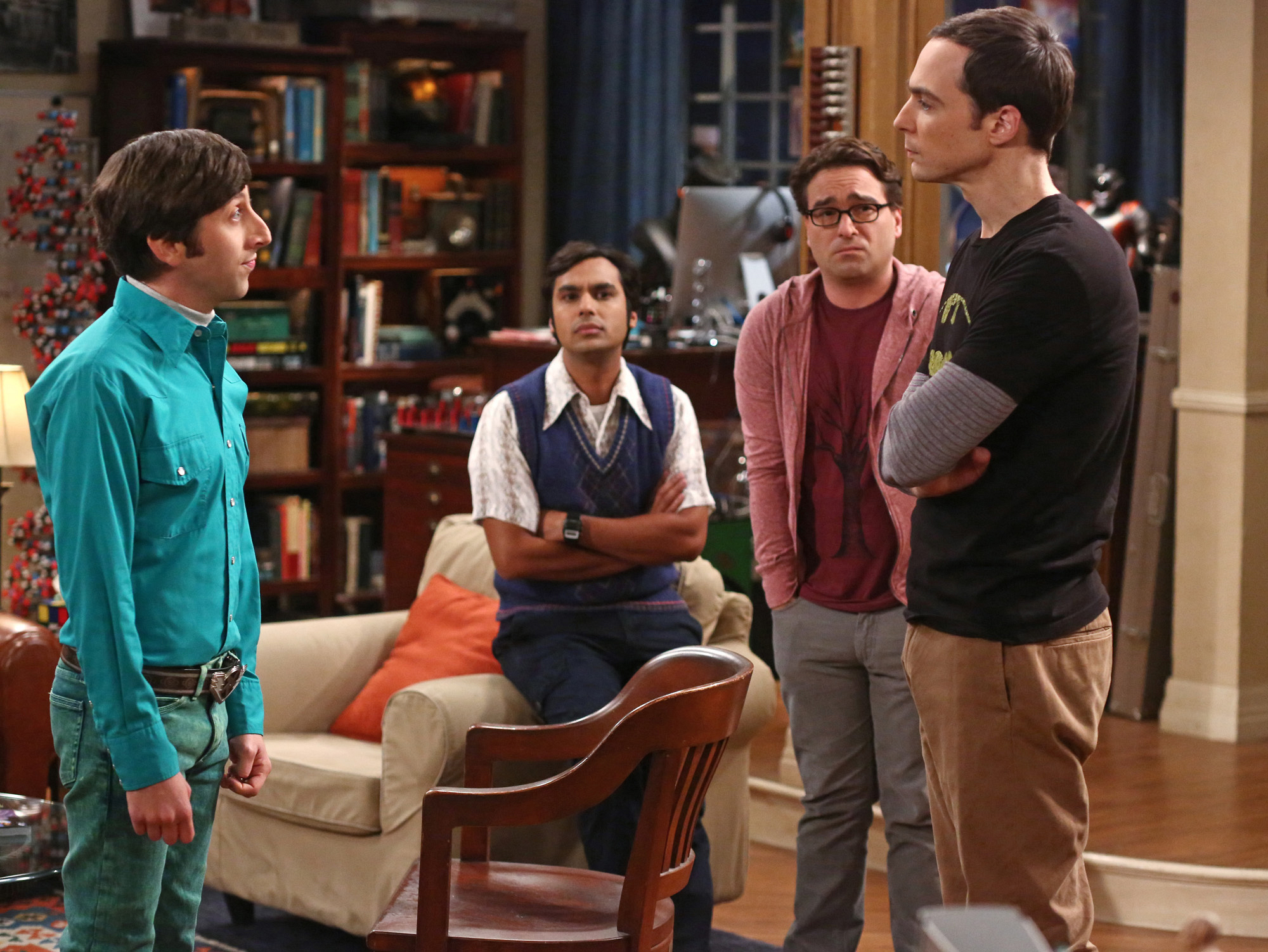 Howard and Sheldon stand off