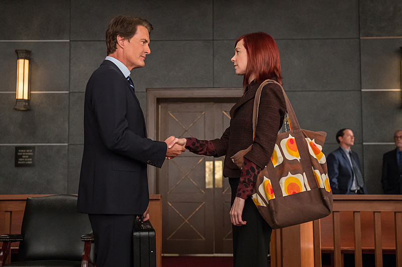 "Carrie Preston and Kyle MacLachlan return as Elsbeth Tascioni and AUSA Josh Perotti in ""Old Spice"" S6E6"