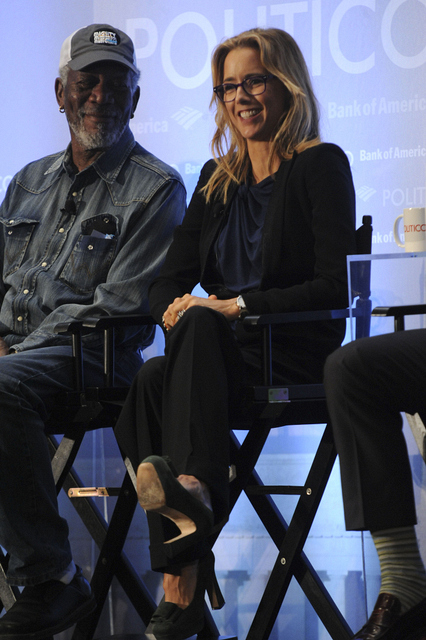 Morgan Freeman and Téa Leoni at Politico
