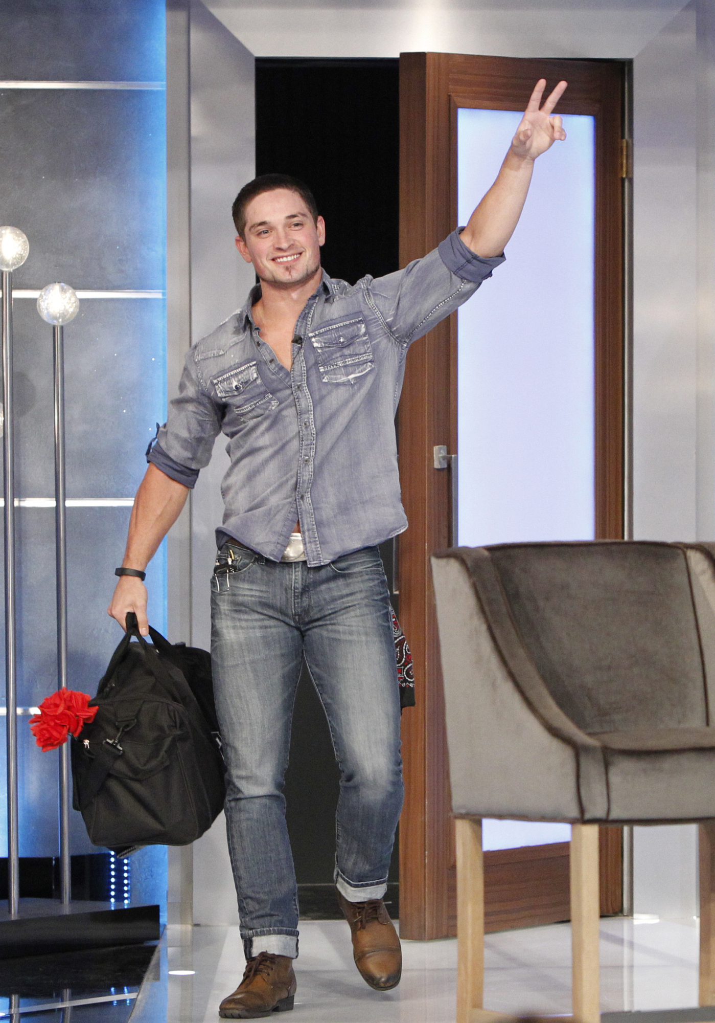 Caleb leaves the Big Brother house