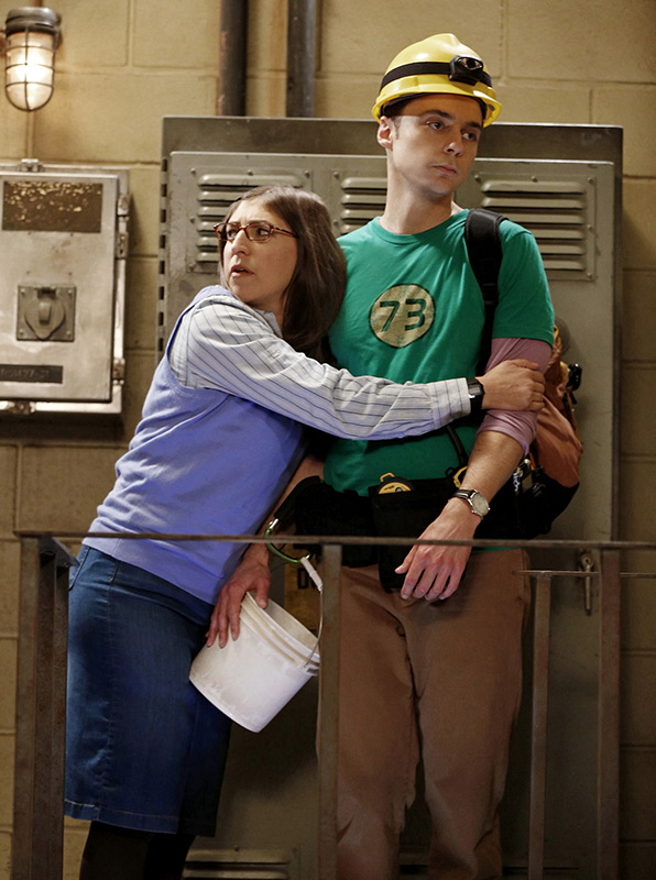 Amy's got a hold on Sheldon and he's...emotionless.