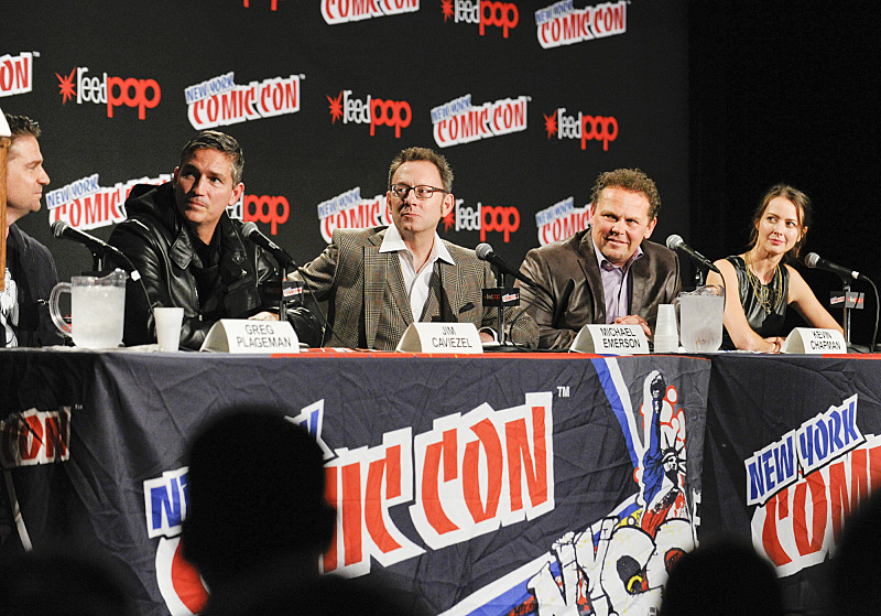 EP Greg Plageman with Jim Caviezel, Michael Emerson , Kevin Chapman, and Amy Acker at New York Comic Con