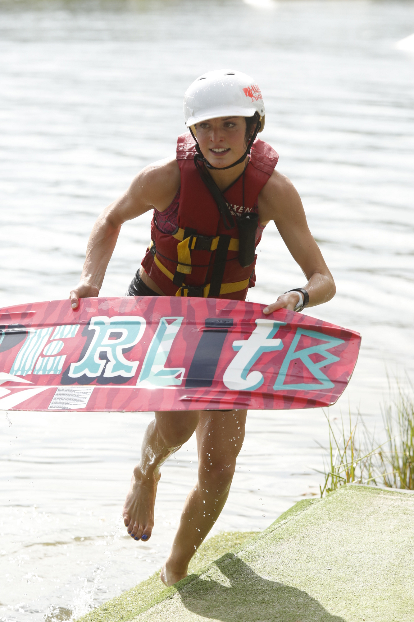 Aly with a wakeboard