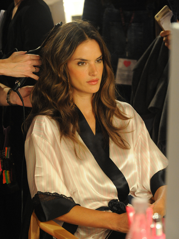 Alessandra Ambrosio getting primped.
