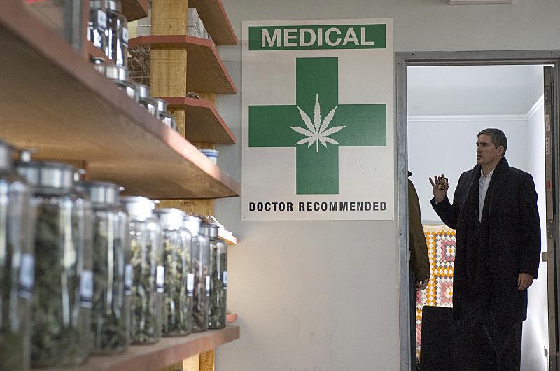 Reese visits a medical marijuana dispensary.