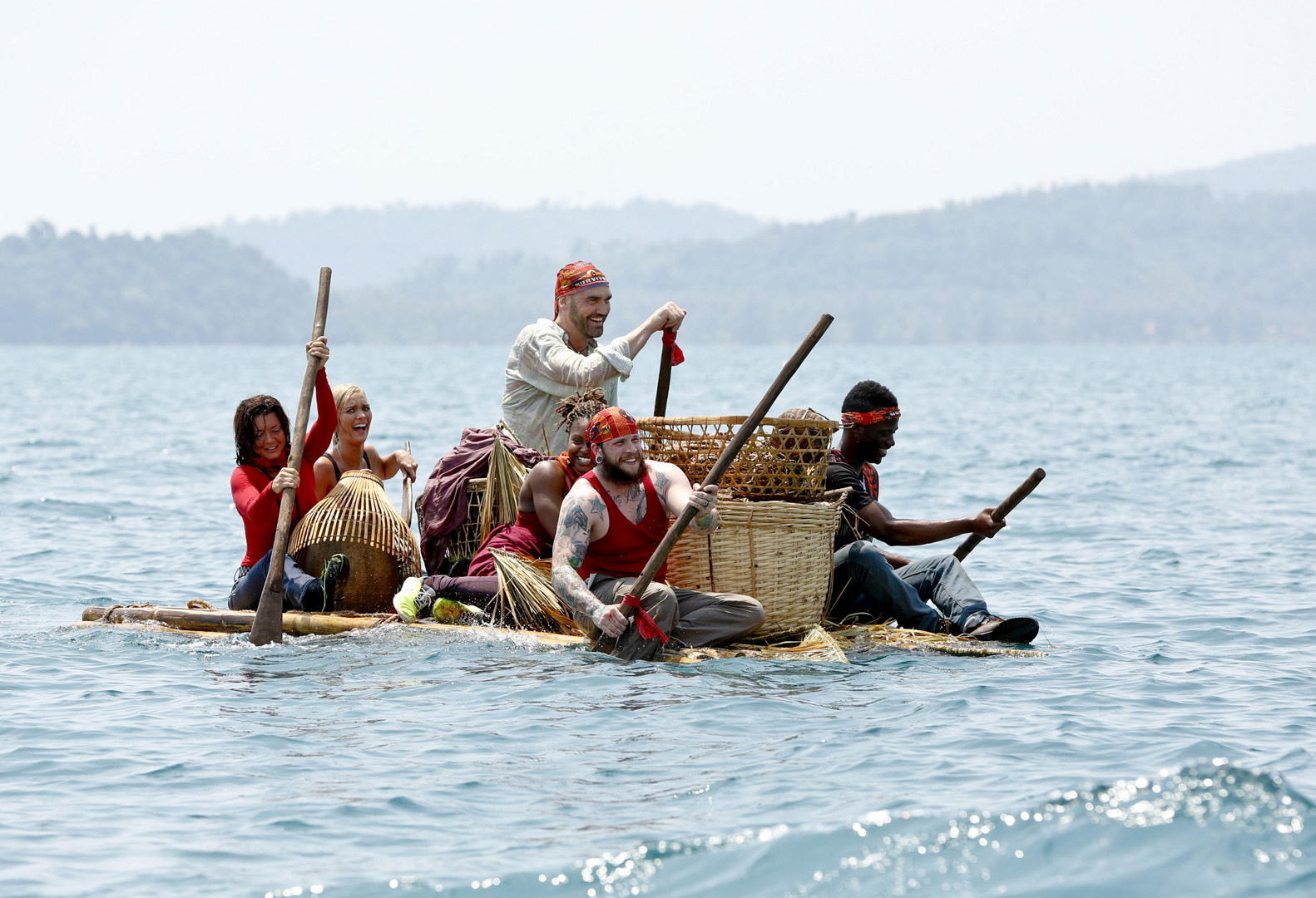 The Brawn Tribe work together to reach the shore.