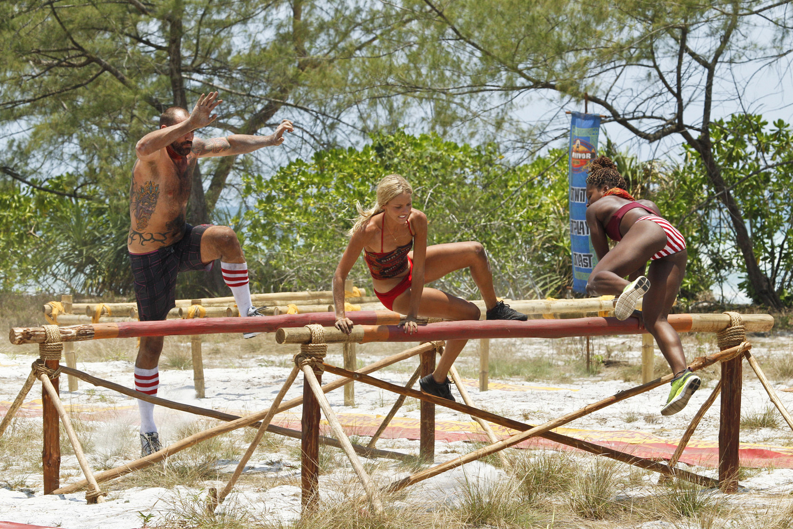 Brawn Tribe memebers Scot, Alecia, and Cydney take a big leap.