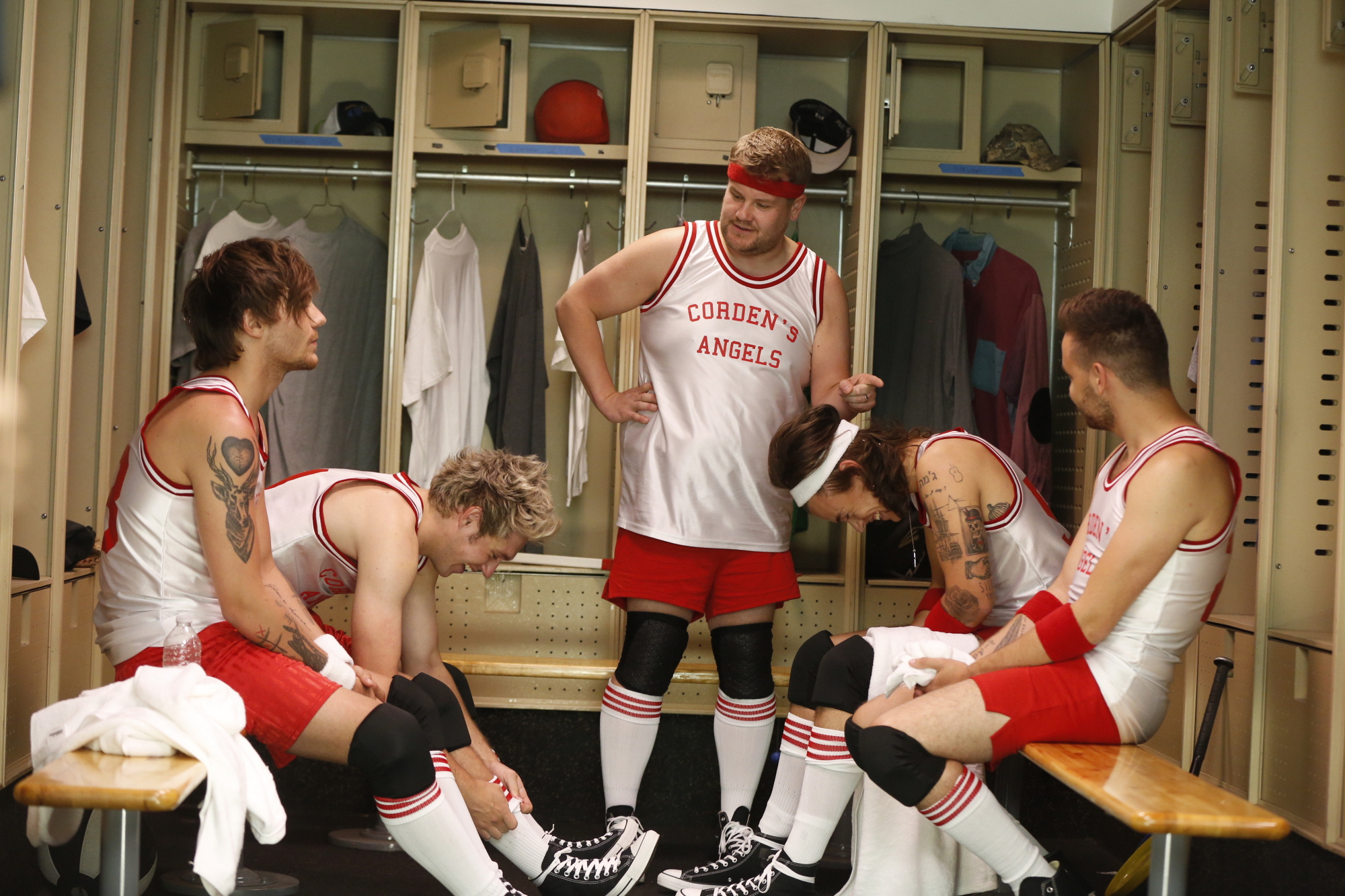 James pumps up Corden's Angels before the big dodgeball match.