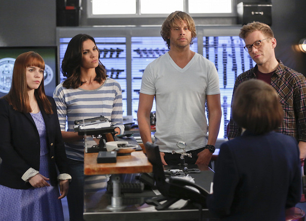 Renée Felice Smith as Nell Jones, Daniela Ruah as Kensi Blye, Eric Christian Olsen as Marty Deeks, and Barrett Foa as Eric Beale