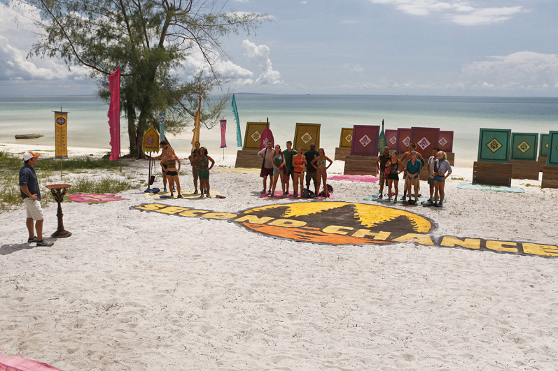 Jeff Probst addresses the three tribes before the Immunity Challenge.