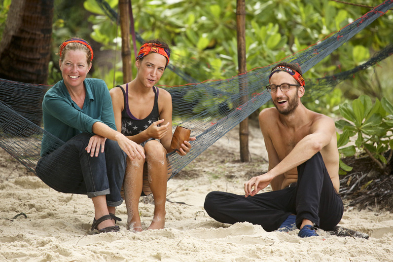 Kass, Ciera, and Stephen crack a few smiles after the merge