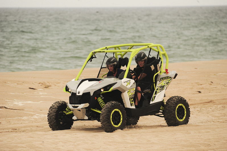 Using a dune buggy, Kelsey (left) and Joey (right) make their way to the final challenge.