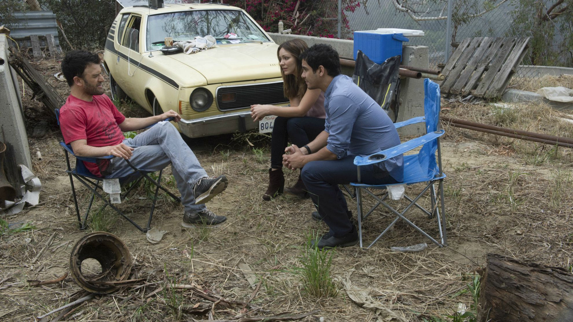 Kevin Weisman as Ray Spiewack, Katharine McPhee as Paige Dineen, and Elyes Gabel as Walter O'Brien