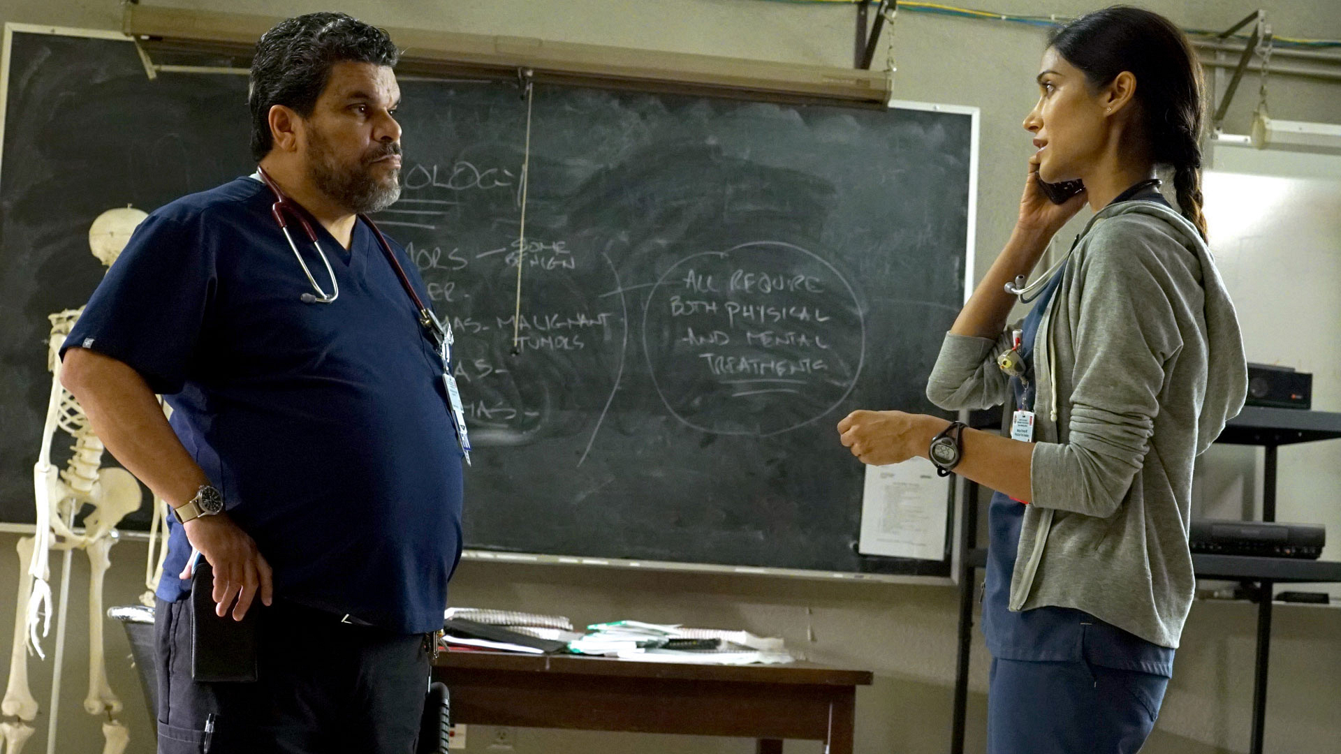 Luis Guzmán as Jesse Sallander and Melanie Chandra as Dr. Malaya Pineda