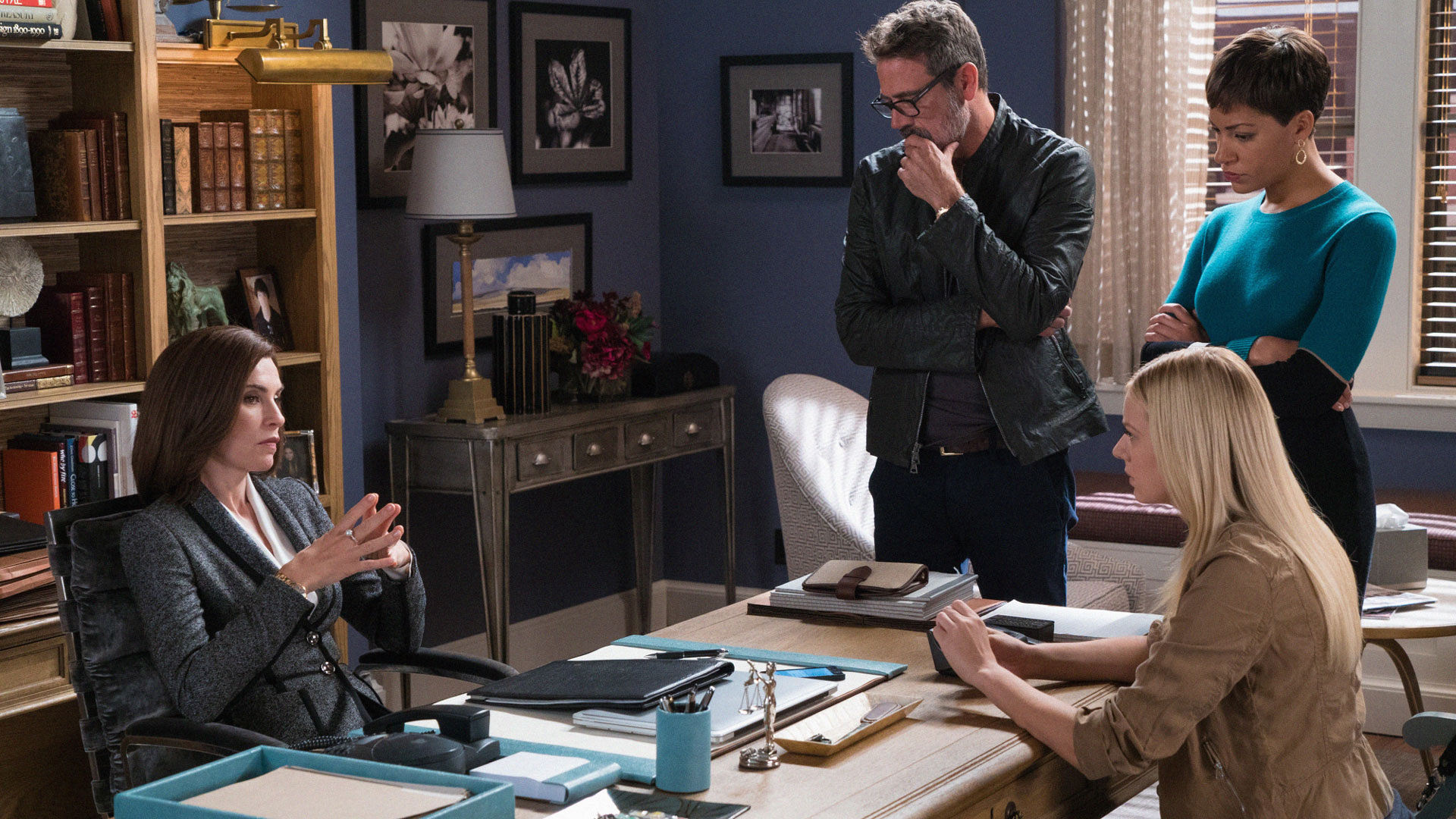 Julianna Margulies as Alicia Florrick, Jeffrey Dean Morgan as Jason Crouse, and Cush Jumbo as Lucca Quinn