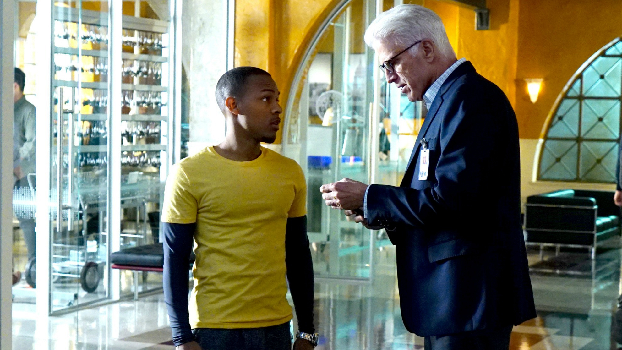 Shad Moss as Brody Nelson and Ted Danson as D.B. Russell