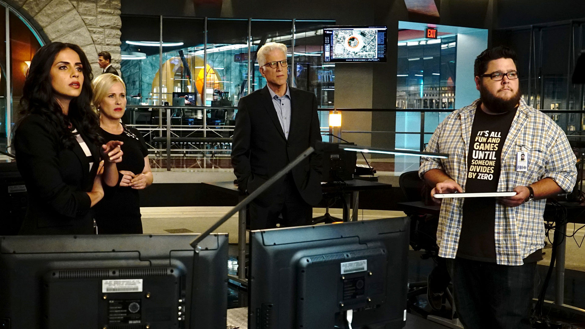 Patricia Arquette as Dr. Avery Ryan, Ted Danson as D.B. Russell, and Charley Koontz as Daniel Grumitz