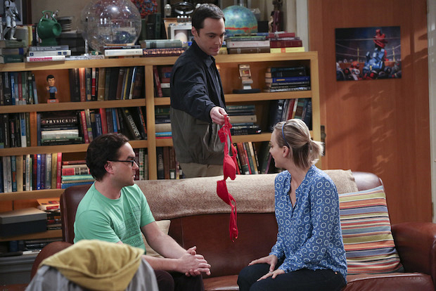 Leonard and Penny get interrupted by Sheldon and a bra