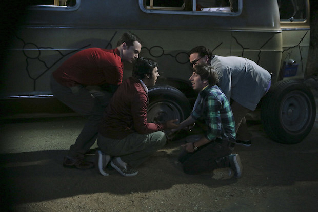 A flat tire derails Leonard's bachelor party