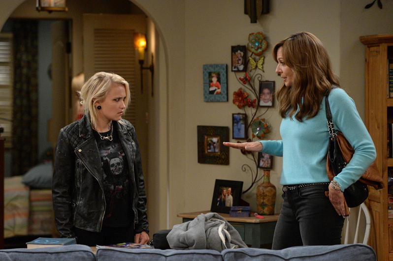 Bonnie has a chat with Jodi in the Plunkett's apartment.