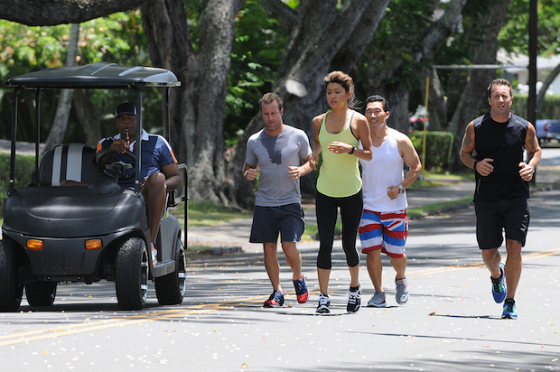 "Chi McBride as Captain Lou Grover, Scott Caan as Danny ""Danno"" Williams, Grace Park as Kono Kalakaua, Daniel Dae Kim as Chin Ho Kelly and Alex O'Loughlin as Steve McGarrett"