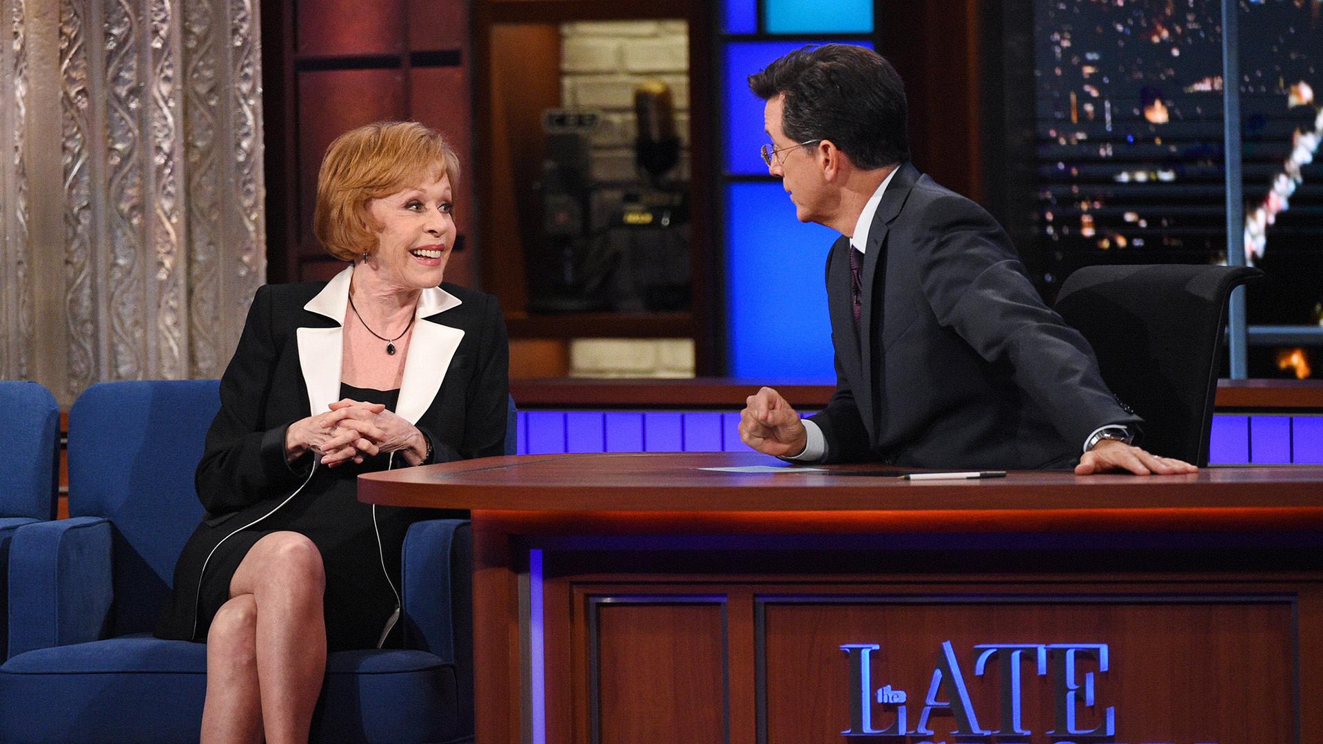 Carol Burnett and Stephen Colbert