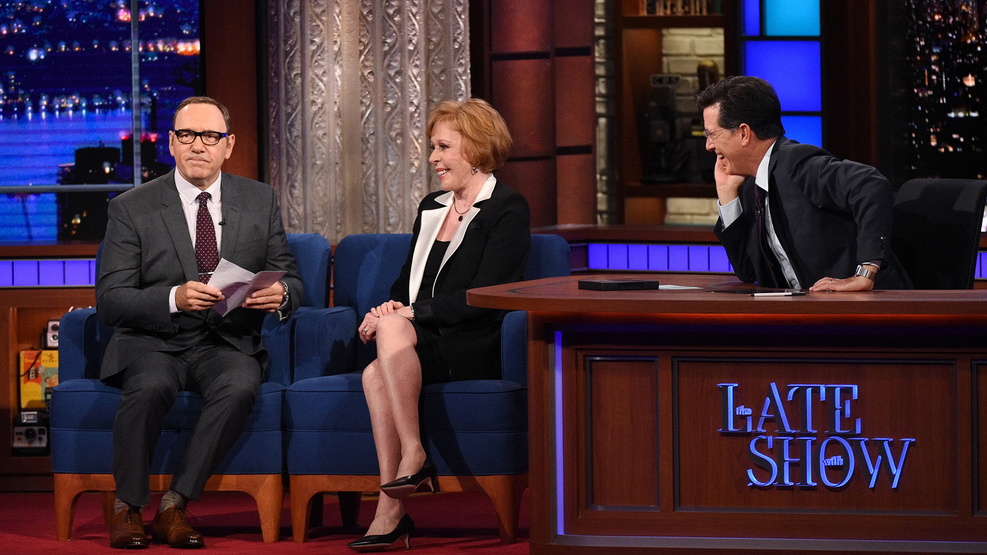 Kevin Spacey, Carol Burnett, and Stephen Colbert